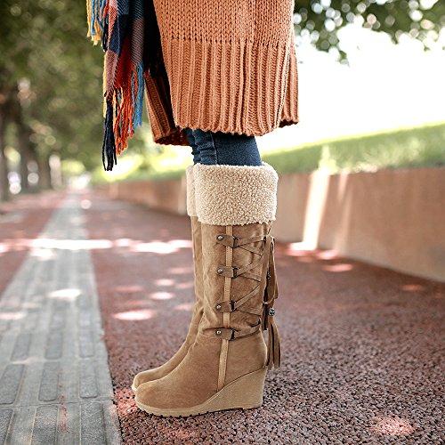 Damen Langschaft Stiefel Keilabsatz Freizeit Sexy High Heels Warm gefüttert Braun