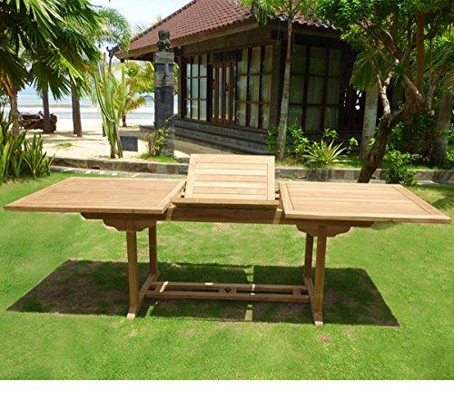 Table en teck de jardin pour 10 personnes : Table rectangulaire à rallonge