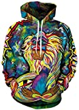 Imbry Herren Slim Fit Hoodie Long Sleeve Kapuzenpullover 3D Druck Muster Sweatshirt Pullover (2XL/3XL, bunt AFFE)