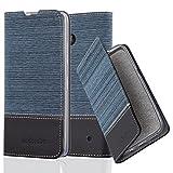 Cadorabo Hülle für Nokia Lumia 640 - Hülle in DUNKEL BLAU SCHWARZ – Handyhülle mit Standfunktion und Kartenfach im Stoff Design - Case Cover Schutzhülle Etui Tasche Book