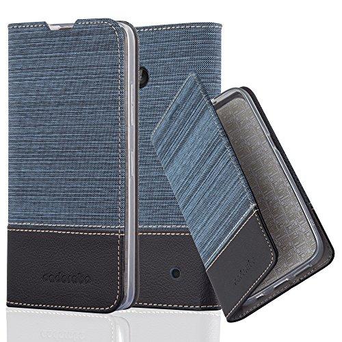 Preisvergleich Produktbild Cadorabo Hülle für Nokia Lumia 640 - Hülle in DUNKEL BLAU SCHWARZ – Handyhülle mit Standfunktion und Kartenfach im Stoff Design - Case Cover Schutzhülle Etui Tasche Book