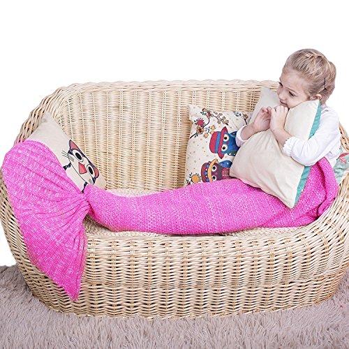 Tick Kostüme (Meerjungfrau Decke–alle Jahreszeiten Meerjungfrau Schwanz Decke für Kinder, Geschenke für Mädchen, Crochet Snuggle Mermaid, Best Mädchen Geschenk Geburtstag Geschenk Weihnachten Geschenk für Kinder Kid Rosa)