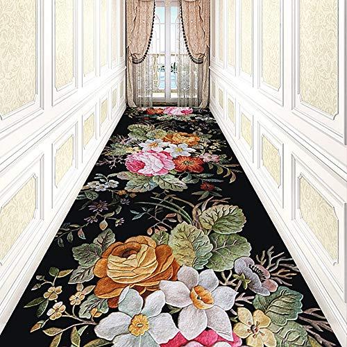 Läufer Läufer Floral (GuoWei Läufer Teppiche Flure Teppich 3D Floral Muster Länge, 54 Größen (Farbe : Schwarz, größe : 0.9x8m))