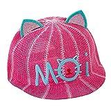 Eizur Baby Sommer Baseball Mütze Katze Ohren Schirmmütze Atmungsaktiv UV-Schutz Sonnenhut Kinder Kappe Mesh Visier Hüte Kopfbedeckung (Himmelblau/Rose/Rosa/Beige/Orange Rot)