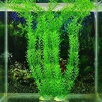 Planta acuática artificial de plástico, color verde, para decoración de peceras