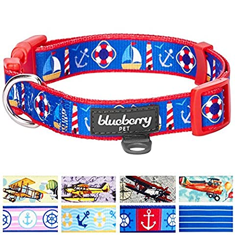 Blueberry Pet Peace Bon Voyage Nautical Blue Dream Designer Dog Collar, Neck 30cm-40cm, Small, Collars for Dogs, Matching Lead & Harness Available Separately