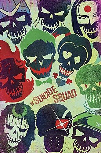 DC Comics Póster de calaveras de Suicide Squad, madera,...