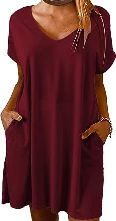 Women's Summer Dress Casual Short Sleeve Dress T-Shirts Dress Midi Dress Linen Dress A Line Dress with Pocket