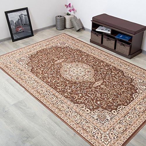 WOLLTEPPICH bester Qualität - Teppich aus Wolle ins Wohnizimmer mit Bordüre - Muster Ornamente Farbe Braun Beige - THEATRE COLLECTION 200 x 300 cm Home-theatre-teppich
