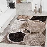 Alfombra moderna diseño de círculos para salón, jaspeado marrón, beige, negro., polipropileno, 160 x 220 cm