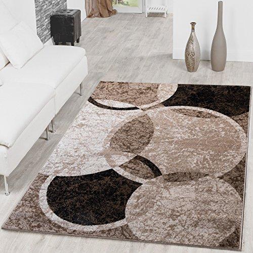 Tappeto moderno con design a cerchi, per soggiorno, tappeto melange marrone, beige, nero, polipropilene, marrone, 160 x 220 cm