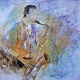 Artland-Poster-Kunstdruck-oder-Leinwand-Bild-Wandbild-fertig-aufgespannt-auf-Keilrahmen-Pol-Ledent-Saxofon-spielen-Musik-Musiker-Malerei-Blau