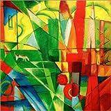 Posterlounge Leinwandbild 120 x 120 cm: Landschaft mit Haus, Hund und Rind von Franz Marc/akg-Images - fertiges Wandbild, Bild auf Keilrahmen, Fertigbild auf Echter Leinwand, Leinwanddruck