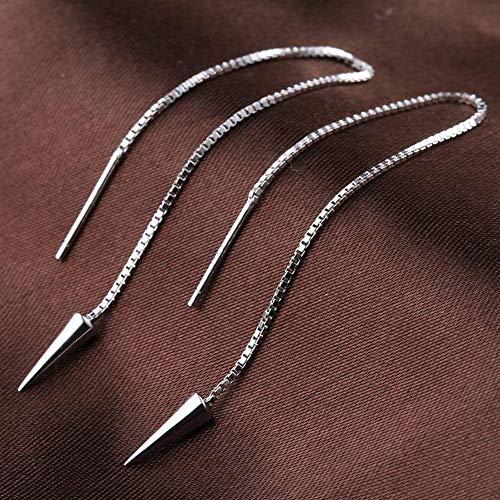 SHOUSHI Unisex Western Trend Mode 925 Silber Verzierte Überzug Ohrringe Punk Persönlichkeit Lange Ohrringe S925 Sterling Silber Fringe Studded Silber Design Ohr Draht Weiblich, Tablett -