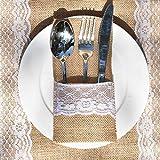 Awtlife - 60 Paquetes de Utensilios de arpillera de Encaje para Cubiertos de Plata, Bolsa para Cuchillos y Tenedores para Boda Vintage