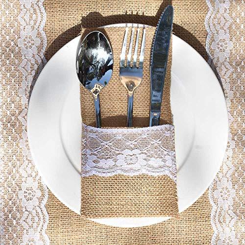 Awtlife Bestecktasche mit Spitze, 60 Packungen, für Besteck, Messer, Gabeln, Tasche für Vintage-Hochzeit