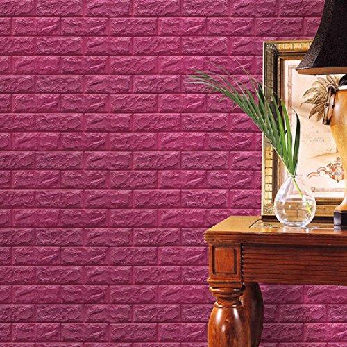 Wein-wand-dekor (TWIFER PE Schaum 3D Tapete DIY Wand Dekor prägeartiger Ziegelstein-Stein,60*60cm (60*60*0.8cm, Wein))
