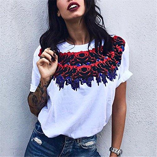 IHRKleid Frauen Sommer T-Shirt Loose Tops Blumen Print kurzarm Bluse Damen Casual Weiß