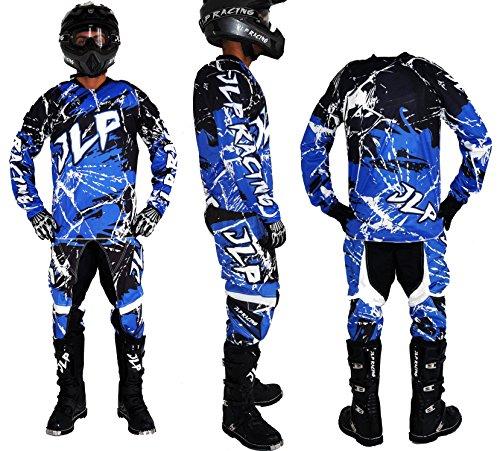 Tuta JLP Racing per bambini di 7-8anni, per moto da motocross, quad, MTB e BMX, completa di pantaloni, maglia e guanti, colore blu, taglia L