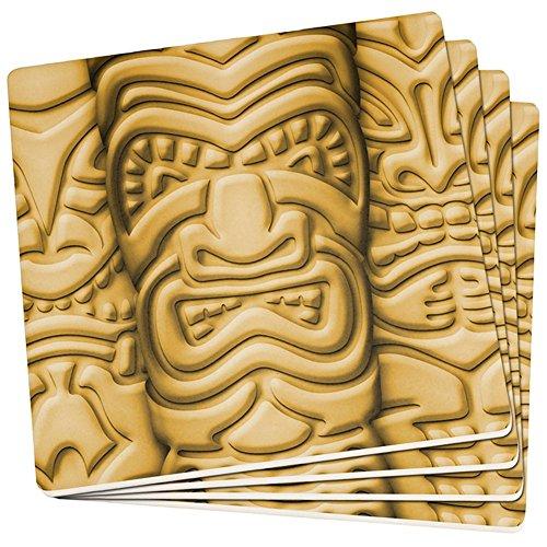 Old Glory Tiki God Gold Gesicht Luau Set von 4 Quadratischen Sandstein-Achterbahnen Multi Standard Ein Größe