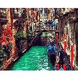 KYKDY Peinture de Ville d'Arc de Bricolage PBN Photos de la ville de Venise par des nombres sur la toile encadrée photos d'art de mur pour la décoration de salon, 40X50cm DIY encadrée, E604