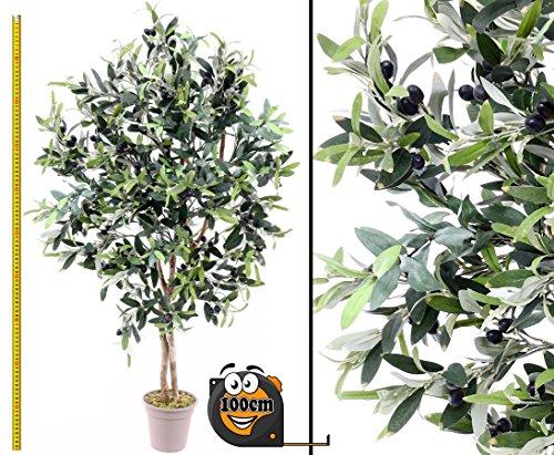 Künstlicher Olivenbaum 100cm mit 640 Textilfaser Blätter und Naturstämme