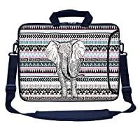 "Meffort Inc 15 15.6 inch Neoprene Laptop Bag Sleeve with Extra Side Pocket, Soft Carrying Handle & Removable Shoulder Strap for 14"" to 15.6"" Size Notebook Computer - Elephant Wave Pattern"