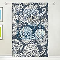"""Use7 Sugar Skull Floral Window Sheer Curtain Panels 55""""x 84"""", 1-Piece Day of the Dead Modern Window Treatment Panel for Children Kids Home Living Dining Room Playroom Decoration"""