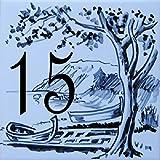 Azul'Decor35 Nummernschild Abziehbild mit eigene geflieste Straße - 10,8x10,8x0,5cm - Individuelle Hausnummer zur Auswahl!