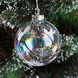 Warmiehomy 5 X Palline di Albero di Natale Ornamenti di Vetro Iridescente Pallina per la Festa di Natale Decorazioni di Nozze di Compleanno 10cm