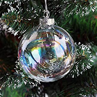 Warmiehomy 5 X Adornos para el árbol de Navidad de Cristal Iridiscente rellenable Bola para la Fiesta de Navidad cumpleaños Decoraciones de la Boda 8 cm