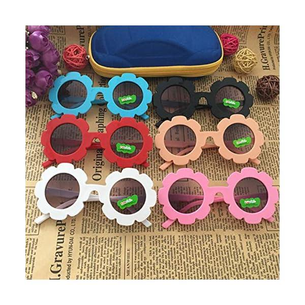 Gugutogo Marco de plástico de Encaje Espejo Decorativo para niños Lente Redonda Gafas de Sol de Moda para bebés Gafas… 3
