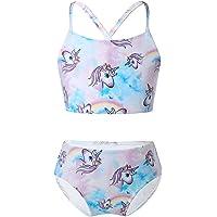 Aislor Unicorno Costume da Bagno Bambina 2 Pezzi Set di Bikini con Stampa Cavalli Arcobaleno Ragazze Canottiera Corta…