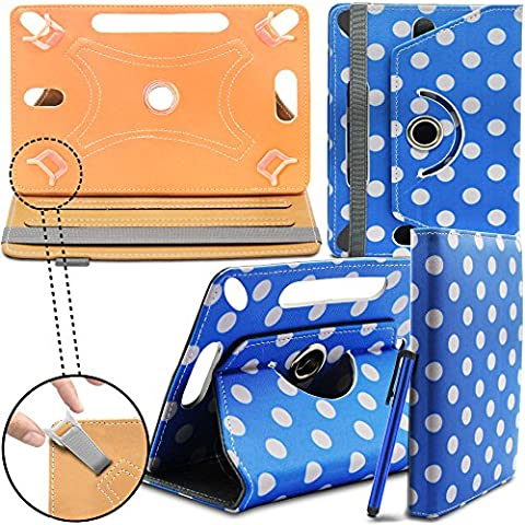 HIPSTREET Flare 3 9 Inch Tablet Case New TAN Universal 360 degree Rotating PU Leathererful Stand Case Cover - Lunar Azul by Gadget Giant®