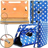 New TAN Design Universal Leather 360 degree Rotating Stand Case Cover For Android 7' 7 inch Tablet PC - Blue Polka ( Designer Folio Android Colourful Luxury Protective 7' Tab Flip Skin ) by Gadget Giant®