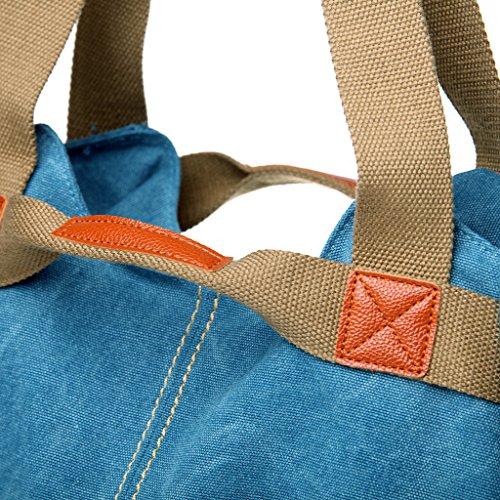 ERGEOB Damen Canvas Handtasche Schultertasche grau 04 grau