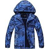 HAINES Jungen Jacke mit Gefütterte Kinder Wander Jacket Wasserdicht Softshelljacke Warm Regenjacke Übergangsjacke Outdoor Mantel, Blau, Etikette 160 (Körperhöhe 151-160cm)