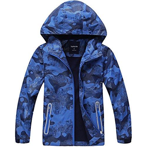 HAINES Jungen Jacke mit Gefütterte Kinder Wander Jacket Wasserdicht Softshelljacke Warm Regenjacke Übergangsjacke Outdoor Mantel, Blau, Etikette 130 (Körperhöhe 121-130cm)