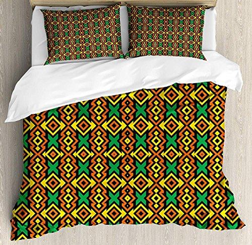 Kente Pattern 3-teiliges Bettwäscheset Bettbezug-Set, exotische afrikanische vertikale Grenzen aus Angola, Nigeria Cultures Tribal Print, 3-tlg. Tröster- / Qulitbezug-Set mit 2 Kissenbezügen, mehrfarb -