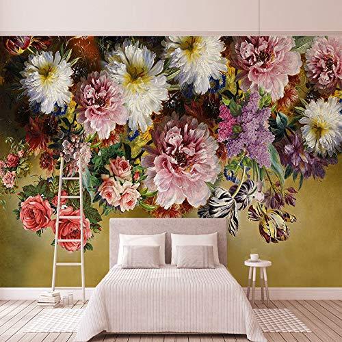 Stile europeo Retro Rose Murale wallpaper 3D Fiori Colorati Pittura A Olio Fresco Camera Da Letto Galleria di Arte Sfondo Decorazione Della Parete Murales cchpfcc-400X280CM