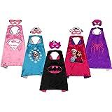 SAYOMOK Costumi da Supereroi per Bambini-Regali di Compleanno - Ragazza Costumi Carnevale Mantelli e Maschere Giocattoli per Bambini e Bambine-5 Mantelli e 5 Maschere
