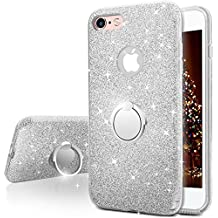 Funda iPhone 6S Plus, Funda iPhone 6 Plus, Miss Arts Carcasa Brillante Brillo con soporte, cubierta exterior de TPU suave + armazón interior de PC duro para Apple iPhone 6S / 6 Plus -Plata