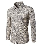Haroty Herren Hemd Slim Fit Langarm Oversize Männer Ethno Print Bunt Shirt Langarmhemd (M, CS 2)