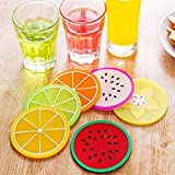 #8: 6Pcs/Set Fruit Coaster Colorful Silicone Tea Cup Drinks Holder Mat Placemat Pads