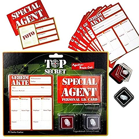TOP SECRET Agenten-Set, 10 Karteikarten, 1 Ausweis, 2