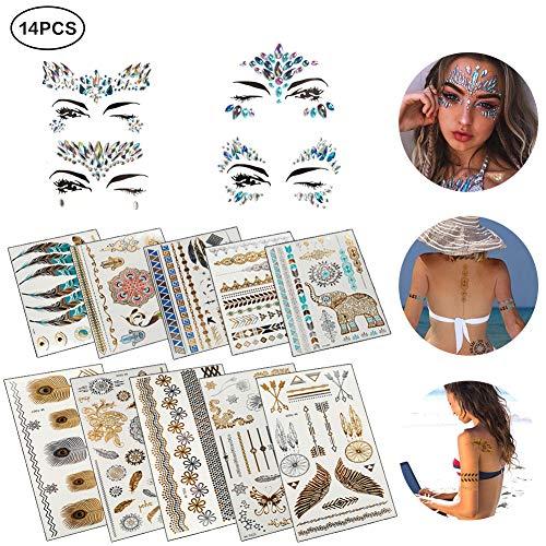 Narbe Kostüm Gesicht - Temporäre Tattoos, 10pcs Tribal Tattoos Aufkleber Wasserdicht Tätowierung in Gold Silber mit 4pcs Gesicht Edelsteine Juwelen Aufkleber, Körper Gefälschte Schmuck Tattoos Makeup für Frauen Mädchen