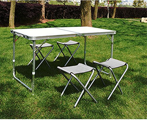 Picknick-tisch-kit (MONEYY Im freien Tisch und Vier Stühle alle Aluminiumlegierung Klappstühle EIN Kit, Picknick-Tische, und Exhibition Services Desk 120 * 60 * 70 cm, b)