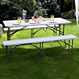 Vanage 6FT Table and Bench Set Folding Garden Table Set Heavy Duty Outdoor Indoor 180 x 75 x 74 cm