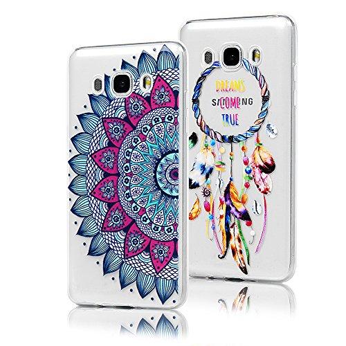 Lot de 2 KASOS Coque pour Samsung Galaxy J5 2016, Coque Housse Case Bumper Étui Coque de Protection en TPU Silicone de Couleur Ultra Modèle Housse Dessin Moitié Fleur+Campanule