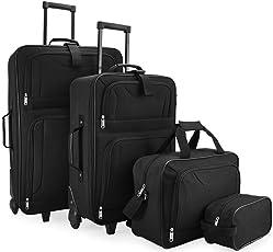 Deuba Trolley Kofferset   Komplettes Business Set   Black Edition   Netzfach   Rollen   Teleskopgriff   Koffer Reisetaschen schwarz